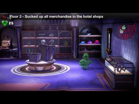 Luigi's Mansion 3 - Floor 3 Achievement - Sucked up all merchandise in the hotel shops
