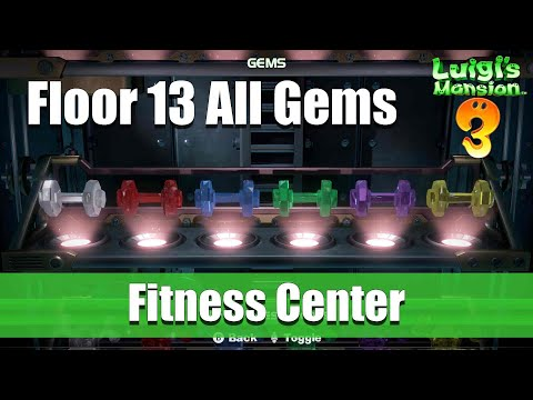 Luigi's Mansion - Floor 13 All Gem Locations (Fitness Center)
