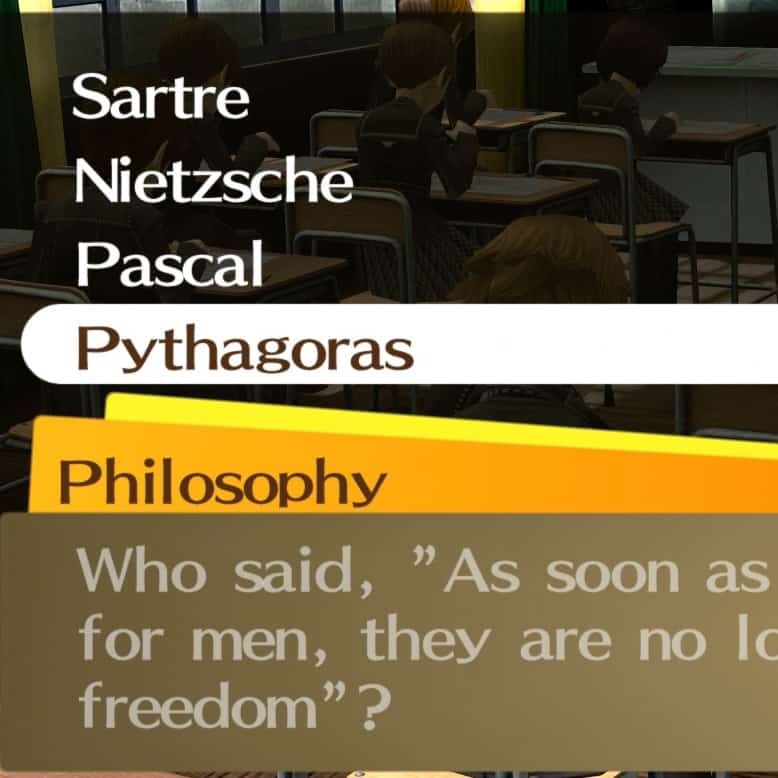 Persona 4 Golden School Answers